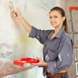 Stock Photo: Wompaints wall with brush