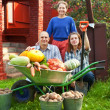 Man and two women with harvest — Stock Photo