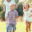 Sporty family of three — Stock Photo