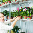Mature woman at flower store — Stock Photo