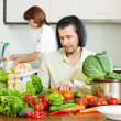 Couple in home kitchen — Stock Photo #38694523