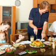 Portrait of happy smiling family communicate over holiday table — Stock Photo
