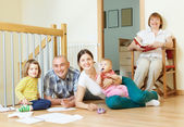 Happy multigeneration family enjoying in home — Stok fotoğraf