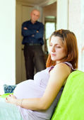 Pregnant couple having problems — Stock Photo