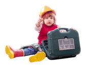 Baby in hardhat with working tools — Stock Photo