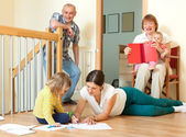 Portrait of happy three generations family with little children — Stock Photo