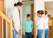 Parents meeting with scold of son — Stock Photo