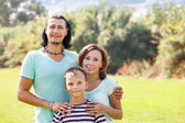 Portrait of family of three — Stock Photo