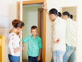 Parents scold son, who later returned home — Stock Photo