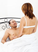 Middle-aged man and woman having sex — Stock Photo