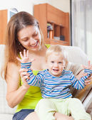 Happy mom with toddler — Stock Photo