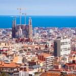 Top view of Barcelona with Sagrada Familia — Stock Photo