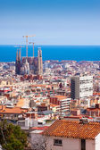 Top view of Barcelona with Sagrada Familia — Stock Photo