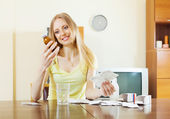 Blonde woman with medications — Stock Photo