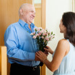 Greeting of loving mature couple — Stock Photo #40791447