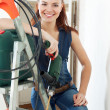 Stock Photo: Happy female builder
