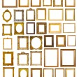 Set of many gilded frames. Isolated over white background — Stock Photo