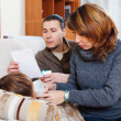 Parents caring for sick teenager boy — Stok fotoğraf