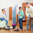 Ordinary family cleaning together — Stock Photo #40794099