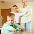 Family of three with teenager having conflict — Stockfoto