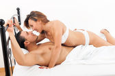 Brunette couple having sex — Stock Photo