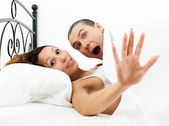 Frightened man caught during adultery with girlfriend — Stock Photo