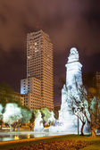 Cervantes Monument against Torre de Madrid — Stock Photo
