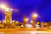 View of Spain square at Barcelona in night — Stock Photo