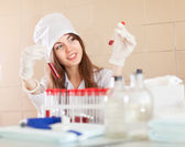 Clinician in laboratory — Stock Photo
