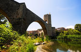 Medieval bridge. Besalu, Catalonia — Stock Photo