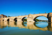 Bridge of Lions over Ebro river in Zaragoza — Stock Photo