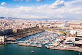 Aerial view of Barcelona city with Port Vell — Stock Photo