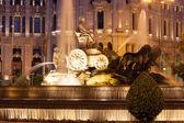 The Cibeles Fountain at Plaza de Cibeles in summer evening — Stock Photo