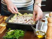 Cooking meat with mushrooms and potatoes — Foto Stock