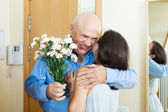 Greeting of mature couple — Stock Photo