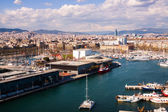 Aerial view of Port Vell and Barcelona city — Stock Photo