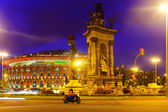 Spain square at Barcelona in night time — Stock Photo