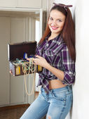 Housewife with treasure chest — Stock Photo