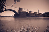 Retro photo of Stone Bridge over Ebro — Stock Photo