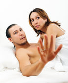 Frightened man and woman caught during sex — Foto de Stock