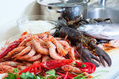 Fresh uncooked sea foods — Stock Photo
