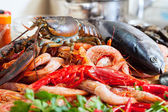 Still life with uncooked seafoods — Stock Photo