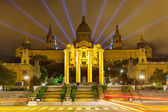 National Palace of Montjuic in night — 图库照片