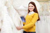 Bride shopping for wedding outfit — Stock Photo