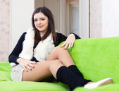 Portrait of woman in leg warmers — Stockfoto