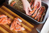 Closeup of cooking fish pie with salmon — Stock Photo
