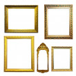Set of gilded frames over white background — Stock Photo