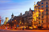 Passeig de Gracia in winter evening. — Stock Photo