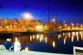 Evening view of Barcelona from from Port Vell — Stock Photo