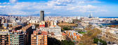 Top panoramic view of Barcelona from Montjuic  — Photo